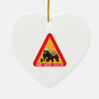 Honey Badger Crossing Sign - White Background Ceramic Ornament