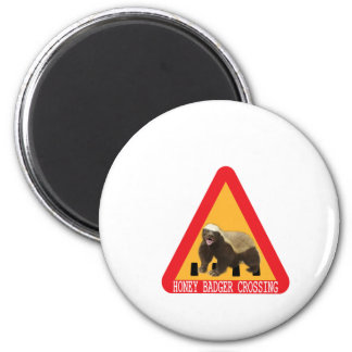 Honey Badger Crossing Sign - White Background Refrigerator Magnets