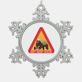 Honey Badger Crossing Sign - White Background Snowflake Pewter Christmas Ornament
