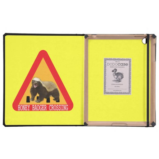 Honey Badger Crossing Sign - Yellow Background Cover For iPad