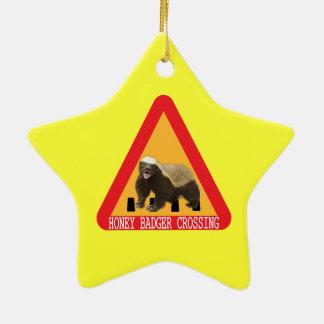 Honey Badger Crossing Sign - Yellow Background Ceramic Ornament