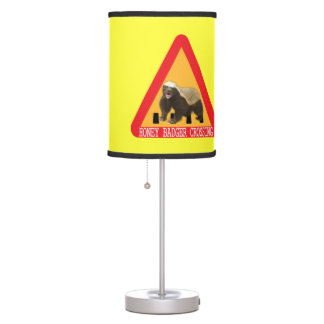 Honey Badger Crossing Sign - Yellow Background Desk Lamp