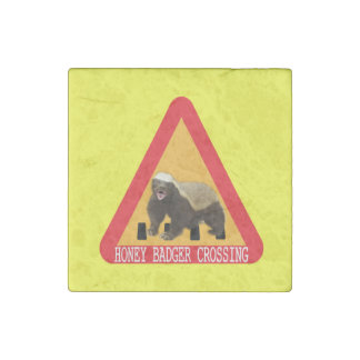 Honey Badger Crossing Sign - Yellow Background Stone Magnet