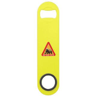Honey Badger Crossing Sign - Yellow Background Speed Bottle Opener