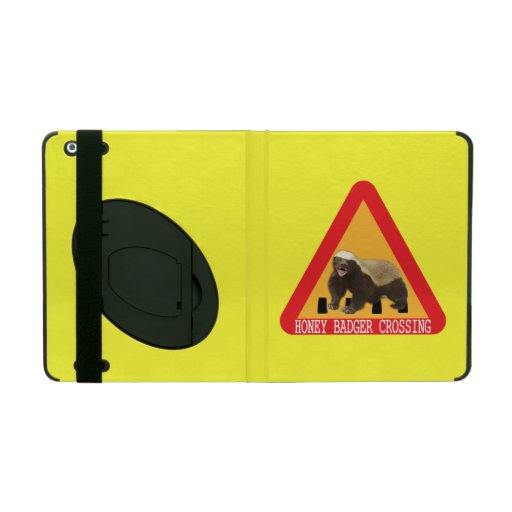 Honey Badger Crossing Sign - Yellow Background iPad Folio Case