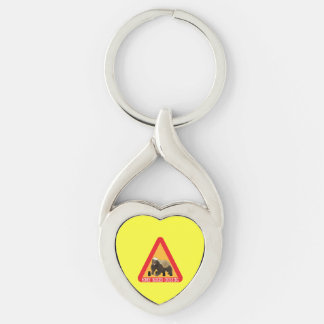 Honey Badger Crossing Sign - Yellow Background Keychain