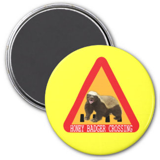 Honey Badger Crossing Sign - Yellow Background Fridge Magnets