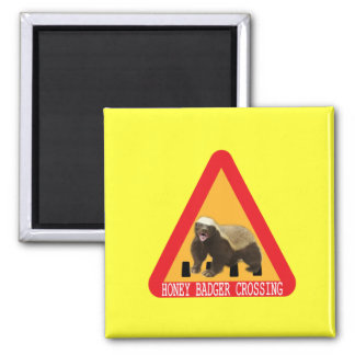 Honey Badger Crossing Sign - Yellow Background Magnets