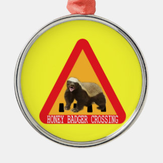 Honey Badger Crossing Sign - Yellow Background Metal Ornament