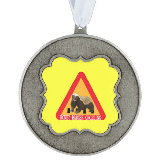 Honey Badger Crossing Sign - Yellow Background Ornament