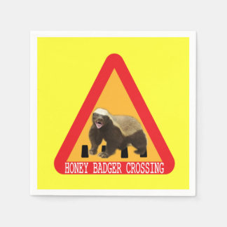 Honey Badger Crossing Sign - Yellow Background Paper Napkins