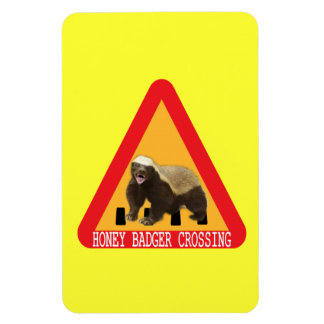 Honey Badger Crossing Sign - Yellow Background Rectangle Magnets