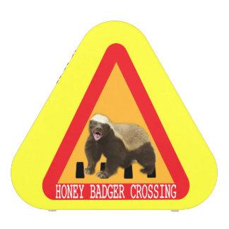 Honey Badger Crossing Sign - Yellow Background Speaker