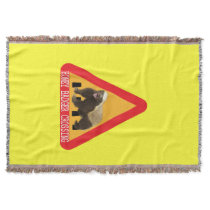 Honey Badger Crossing Sign - Yellow Background Throw Blanket