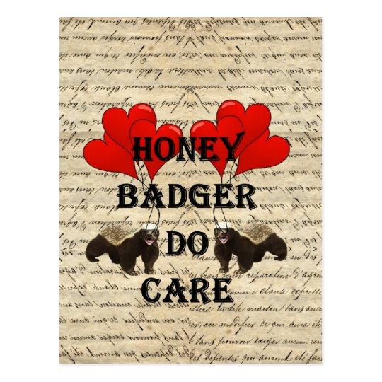 Honey badger do care postcard