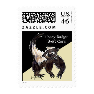 Honey Badger Don t Care Cartoon Postage Stamps