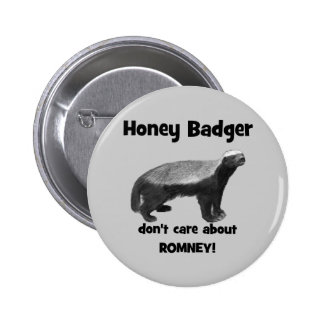 Honey Badger don't care about Romney Pinback Button