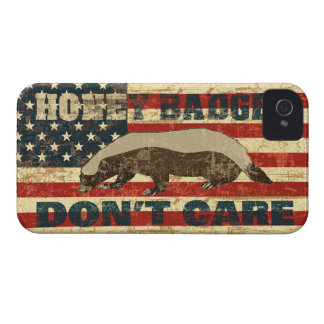 Honey Badger Dont Care American Flag iPhone 4 Case-Mate Cases
