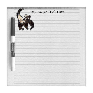 Honey Badger Don't Care Cartoon Dry Erase Board