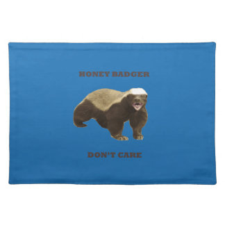 Honey Badger Don't Care. Crayon Blue Pattern Placemats