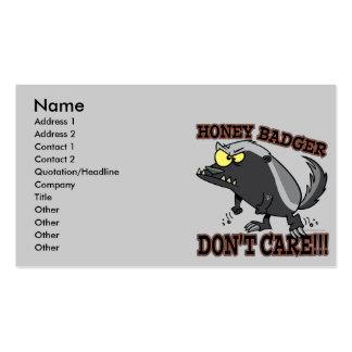 HONEY BADGER DONT CARE FUNNY CARTOON BUSINESS CARD