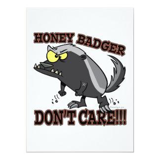 HONEY BADGER DONT CARE FUNNY CARTOON 6.5X8.75 PAPER INVITATION CARD