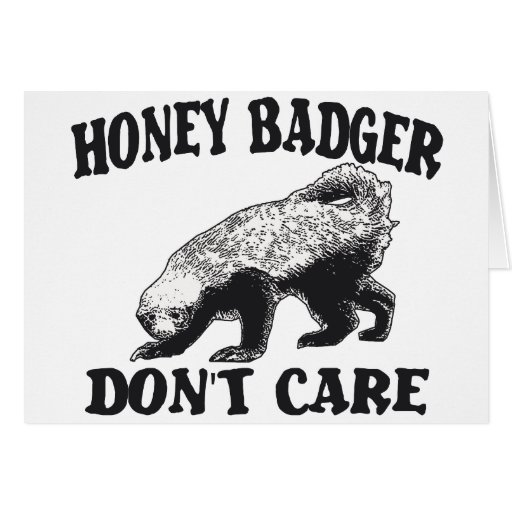 HONEY BADGER DON'T CARE GREETING CARD
