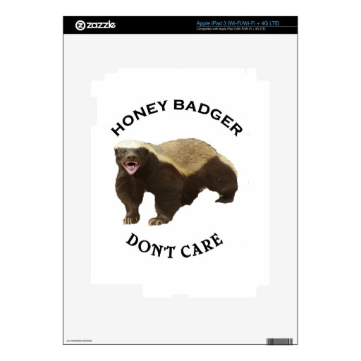 Honey Badger Don't Care logo Decals For iPad 3