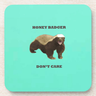 Honey Badger Don't Care Mint Green Coaster