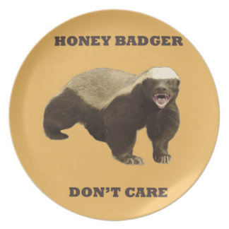 Honey Badger Don't Care On Beeswax Background Plate