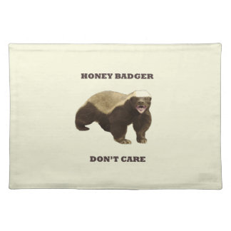 Honey Badger Don't Care On Beige Cream Background Place Mat