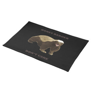 Honey Badger Don't Care On Black Background. Funny Placemats