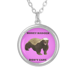 Honey Badger Don't Care On Bubblegum Pink Pattern Custom Necklace