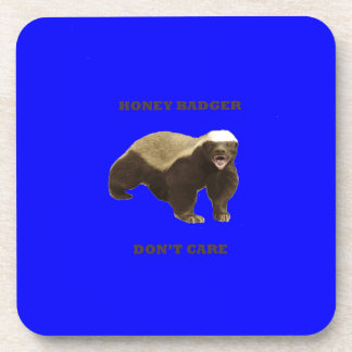 Honey Badger Don't Care On Dark Blue Background Coasters