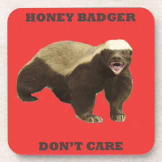 Honey Badger Don't Care On Poppy Red Background Drink Coasters