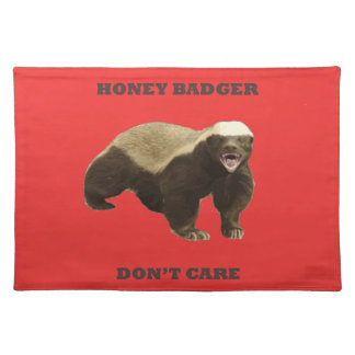 Honey Badger Don't Care On Poppy Red Background Placemats