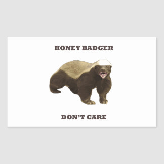 Honey Badger Don't Care. White Pattern Stickers