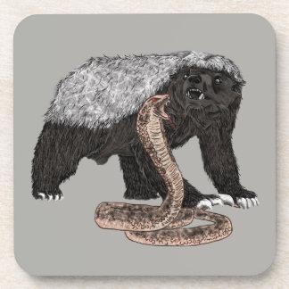 Honey Badger Faces Snake Fearless Animal Design Beverage Coaster