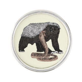 Honey Badger Faces Snake Fearless Animal Design Lapel Pin