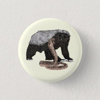 Honey Badger Faces Snake Fearless Animal Design Pinback Button