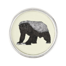 Honey Badger Fearless With Attitude Animal Design Pin