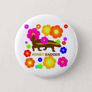 honey badger flowers pinback button
