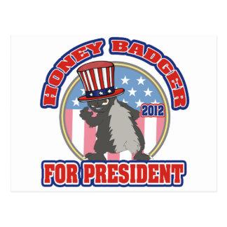 honey badger for president 2012 postcard