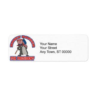 honey badger for president usa flag label