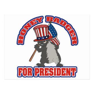 honey badger for president usa flag postcard