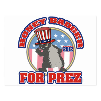 honey badger for prez 2012 postcard