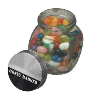 Honey badger glass candy jar