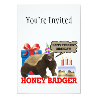 Honey Badger Happy Freakin' Birthday 5x7 Paper Invitation Card