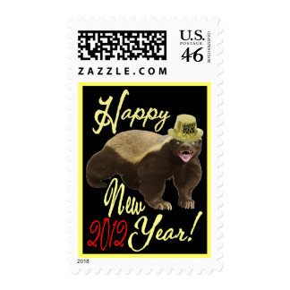 HONEY BADGER HAPPY NEW YEAR 2012 POSTAGE STAMP