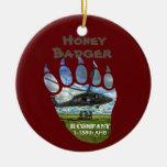Hand shaped Honey Badger &  Helicopter Ceramic Ornament